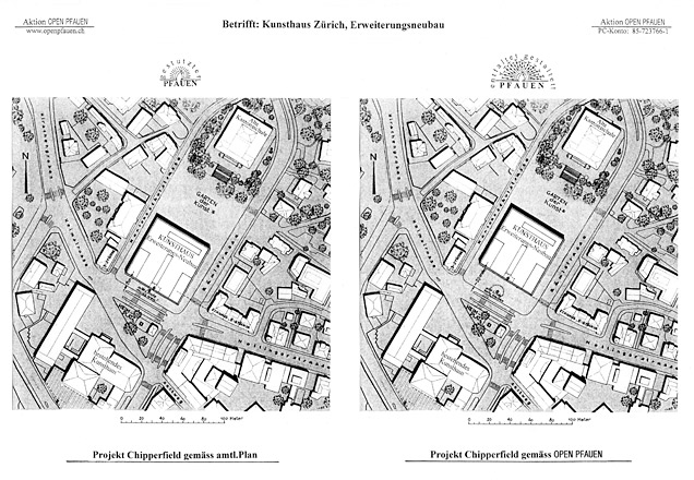 Plans from protest group Open Peacock showing the position of the Kunsthaus as Chipperfield proposes it (left) and (right) moved back 10m into the art garden.