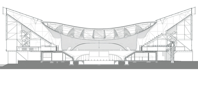 Cross sectino of Zaha Hadid's Aquatics Centre in Olympic mode