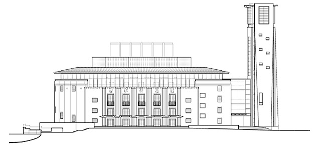 Royal Shakespeare Theatre north elevation