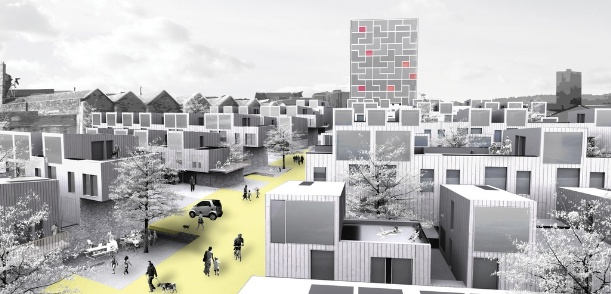 RCKa's Europan 9 competition winning entry for a large, waterside, residential-led redevelopment in Hanley, Stoke-on-Trent