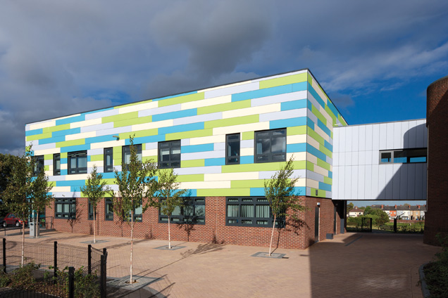 Four different shades of Steni Colour panels were specified by HLM Architects for this BSF project in Sheffield.