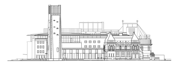 Royal Shakespeare Theatre west elevation