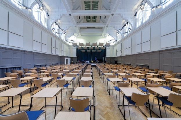 Ceiling and wall-mounted canopies have modified reverberation times to reduce noise levels in the Great Hall of the grade II listed Bishopsgate Institute in London.