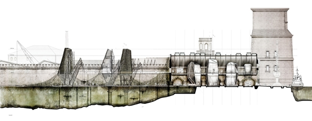 Christophi's proposal sees the Venice Arsenale transformed into an algae harvesting plant.