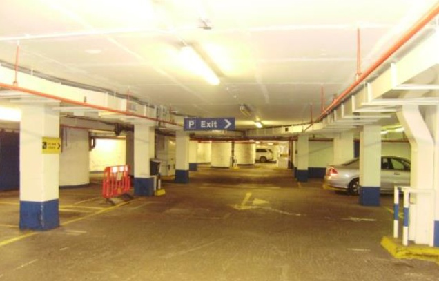Car park level beneath former Central London YMCA and St Giles Hotel on Tottenham Court Road