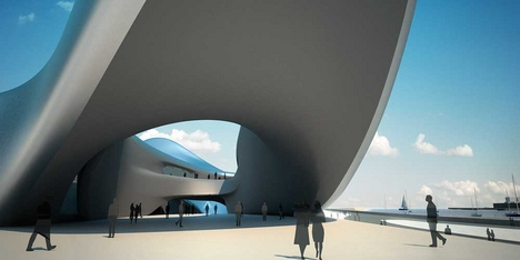 The exterior of Zaha Hadid's Regium Waterfront project