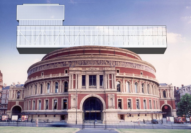 Royal Albert Hall with Feilden Clegg Bradley's Southbank Centre liner building. CGI by Orlando Hill for Twentieth Century Society
