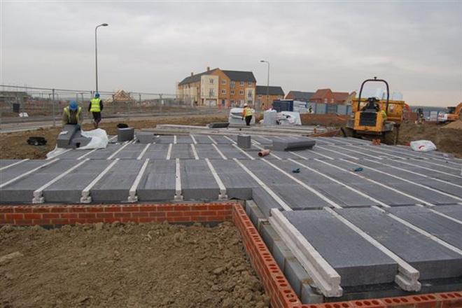 Springvale's Platinum Beamshield Plus insulated suspended floor system was specified for this David Wilson Homes housing project in Didcot, Oxfordshire