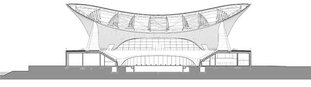 Cross section of Zaha Hadid's Aquatics Centre in legacy mode