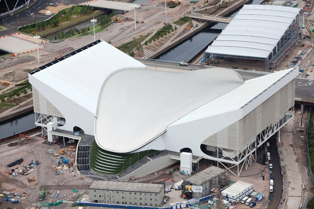 Aerial image of Zaha Hadid Aquatics Centre.