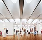 The interior gallery space showing the four-layer skylights, which maximise the amount of daylight.