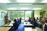 Students in the RMJM-designed Kimbolton School Queen Katherine Building, Cambridge, which was completed in 2009.
