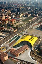 Aerial view of the Enzo Ferrari Museum by Future Systems