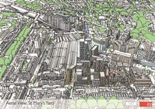 JTP's Paddington proposal - aerial. The competition focuses on an area just to the right of the station