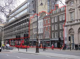 The threatened buildings on the Strand, between ED Jefferiss Mathews' 1972 Strand Building and Somerset House. The first four buildings from the left inside the red line are due to be demolished. The fifth is listed and is not due to be demolished