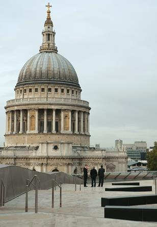 View from the roof terrace, the height of which is determined by St Paul's.