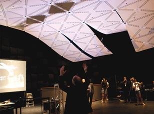 The Reactive Acoustic Environments Cluster's transformable canopy responds to gestures.
