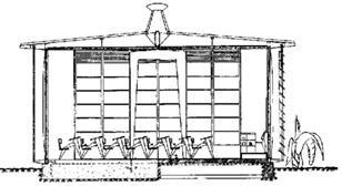 Prouvé's sketch of how he envisaged the structure...