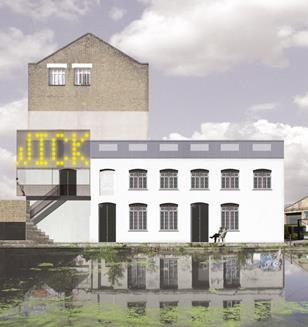 CGI of the exterior of the refurbished White Building arts centre in Hackney Wick.