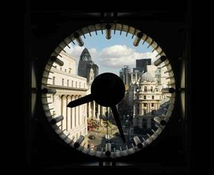 Looking through the clock at No1 Poultry