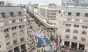 A visualisation of a pedestrianised Oxford St