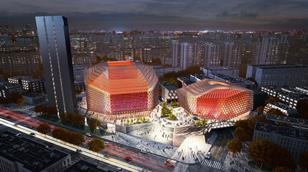 Bird's eye view of GMP's Urban Music Hall in Chengdu, China