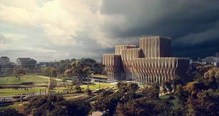 Sleuk Rith Institute in Cambodia by Zaha Hadid Architects - south facade and memorial park