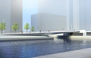 Montgomery Bridge in Canary Wharf by Flint and Neill and Knight Architects - Montgomery Square elevation