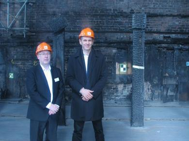 Brian Park, left, and David Page in the burnt-out Mackintosh Library