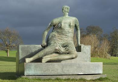Draped Seated Woman, affectionately known as Old Flo, by Henry Moore