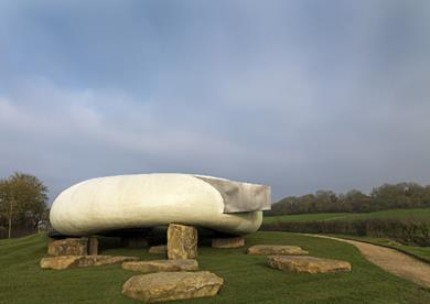 Smiljan Radic's Serpentine Pavilion in its new home at Hasuer and Wirth in Somerset