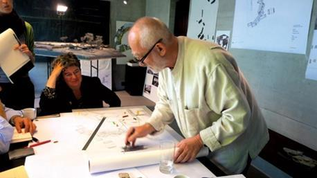 Peter Zumthor sketching his Secular Retreat.
