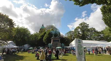 Charlotte Square's central garden provided a lively centre to the book festival.