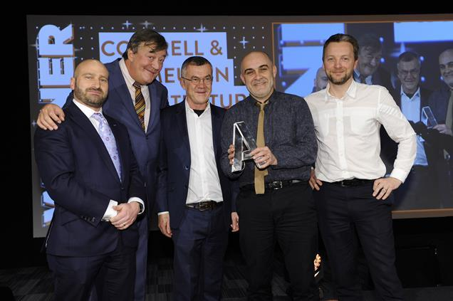 Cottrell and Vermeulen receive their Architect of the Year Award from Stephen Fry